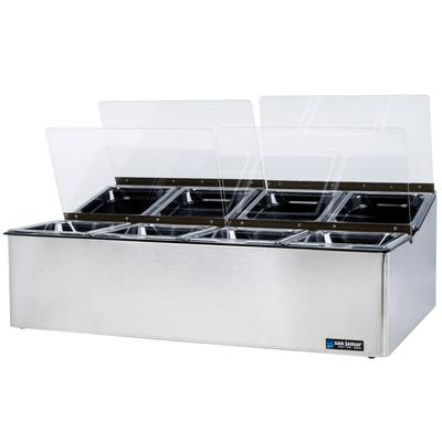 San Jamar FP9248FL EZ Chill Food Prep Center with 8 Pans