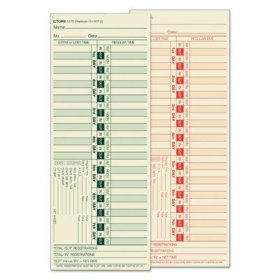Tops BUSINESS FORMS Time Card for Lathem TOP1275