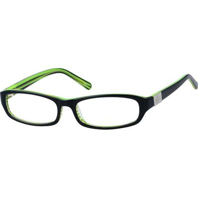 6735ff465d A medium size acetate full-rim frame with design on temples.