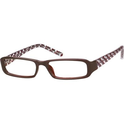 74bcf0e359 A plastic full-rim frame with plaid pattern temples.
