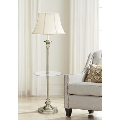 House of Troy Newport Glass Tray Floor Lamp Antique Brass