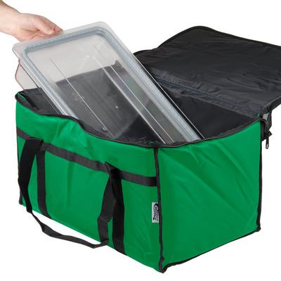 """Choice Insulated Food Delivery Bag / Pan Carrier, Green Nylon, 23"""" x 13"""" x 15"""""""