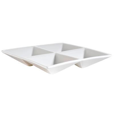"C.A.C CAC CMP-A7 6 1/2"" x 6 1/2"" Bone White 4 Compartment..."