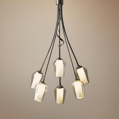 """Hubbardton Forge Flora 23"""" Wide Seeded Glass Chandelier"""