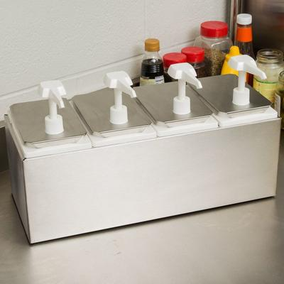 Carlisle 38504 10 Qt. Condiment Dispenser Rail with 4 Sta...