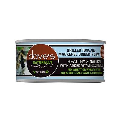 Dave's Pet Food Naturally Healthy Grain-Free Grilled Tuna & Mackerel Dinner Canned Cat Food, 5.5-oz