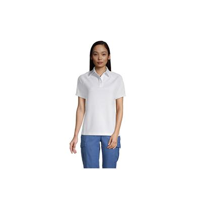 Lands' End Women's Short Sleeve Multi Textured Polo - White