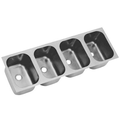 """Eagle Group FDI-22-22-13.5-4 Four Compartment 24"""" x 96"""" Seamless Weld In Sink - 13 1/2"""" Deep"""