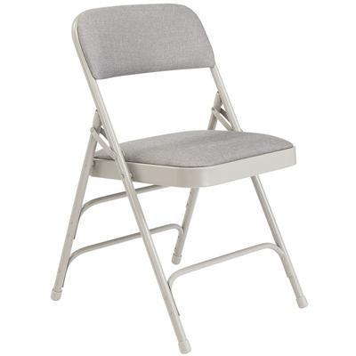 National Public Seating 2302 Gray Metal Folding Chair wit...