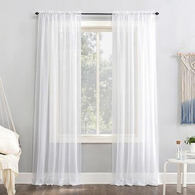No918 Emily Solid Sheer Voile Window Curtain, White