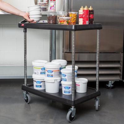 Metro myCart MY1627-24BL Black Utility Cart with Two Shel...
