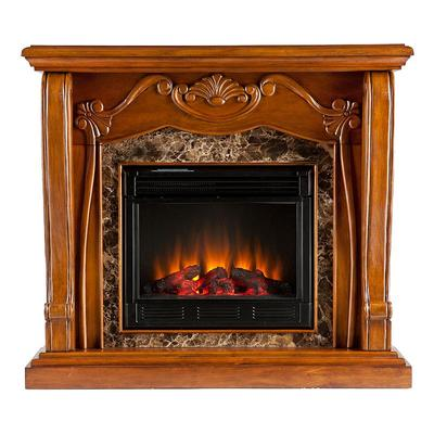 Auden Electric Fireplace, Brown