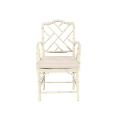 Our Dayna Arm Chair captures the sophisticated soul of Chinese Chippendale styling. Solid beech wood frame is artisan crafted with classic fretwork hand finished with bamboo-inspired turnings. Richly padded linen blend seat removes for easy recovering....