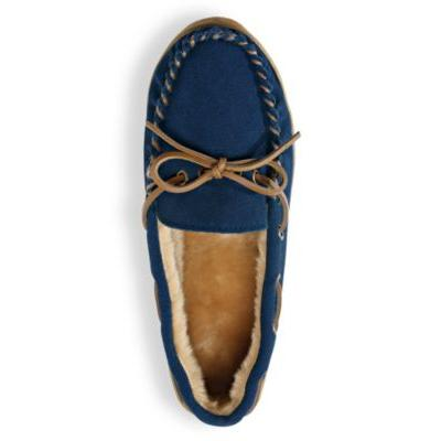 Women's ComfortEase Suede Slippers by Blair, Blue, Size 5