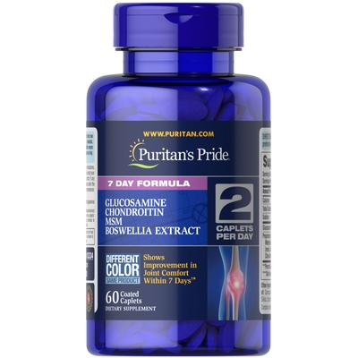 Puritan's Pride 7 Day Formula Joint Soother Glucosamine, Chondroitin, MSM & Boswellia-60 Caplets