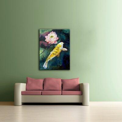 ArtWall 'Koi and Lotus Flower' by Michael Creese Framed P...