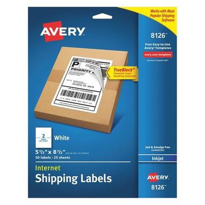 Avery Shipping Label for Inkjet Printers 8126, PK25, 8126