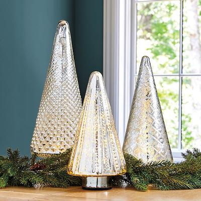 Ballard Designs Lit Mercury Glass Trees Medium
