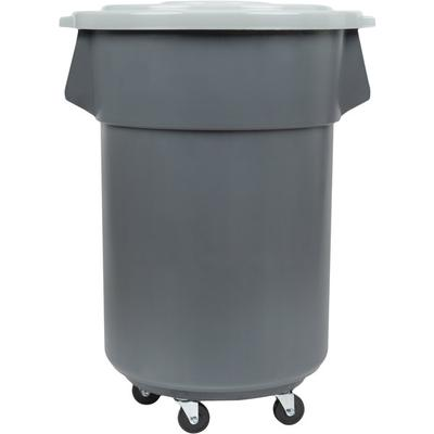 Continental 44 Gallon Gray Trash Can, Lid, and Dolly Kit