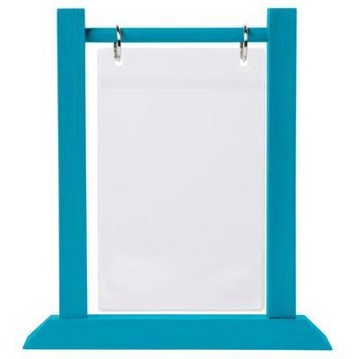 "Menu WFT4S-A 4"" x 6"" Sky Blue Wood Flip Top Table Tent"