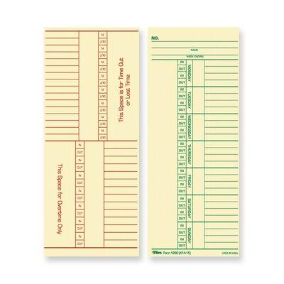 Tops BUSINESS FORMS Tops Named Days and Overtime Time Car...