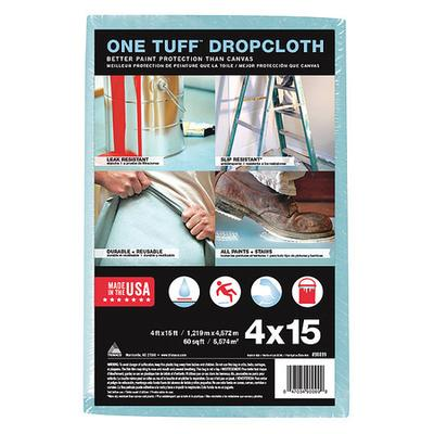 Leakproof and Slip Resistant Drop Cloth, Pulp, Polyester, Blue, Length 4 ft., Width 15 ft., Thickness 10 mil