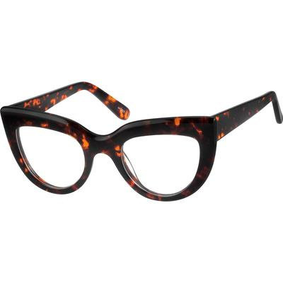Zenni Womens Retro Cat-Eye Prescription Glasses Tortoiseshell Frame Plastic 4412625