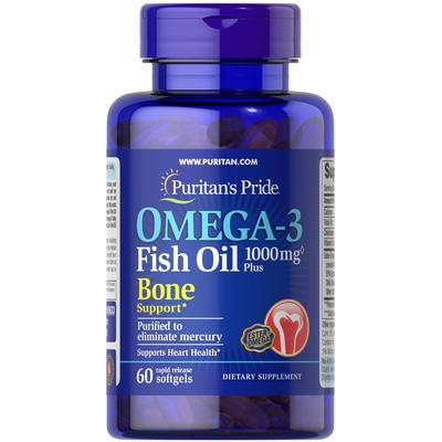 Puritan's Pride Omega-3 Fish Oil 1000 mg Plus Bone Support-60 Softgels