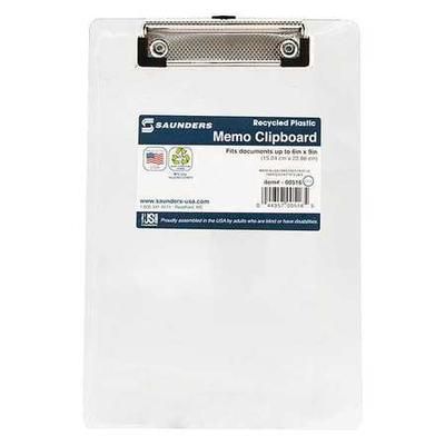 Saunders 00516 Clipboard,Plastic,Clear G3780817