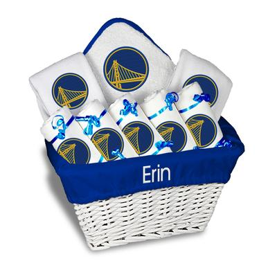 """Newborn & Infant Golden State Warriors White Personalized Large Gift Basket"""