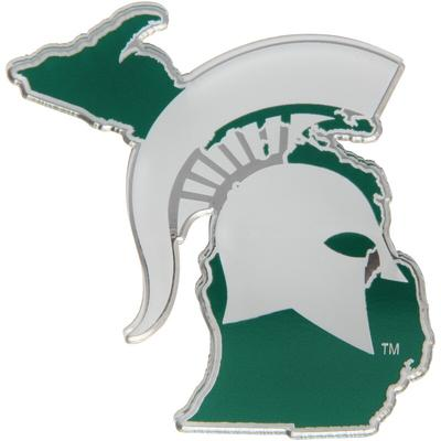 Michigan State Spartans State Shape Acrylic Metallic Auto Emblem, Multi