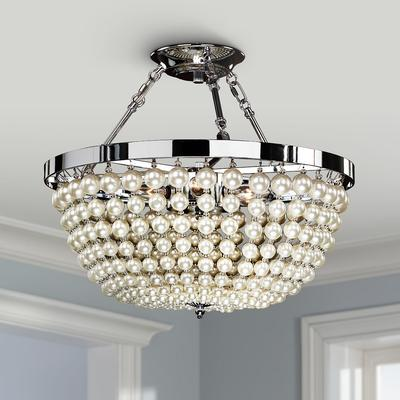 """Moscato Chrome 16 1/2"""" Wide Faux Pearl 5-Light Ceiling Light"""