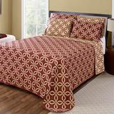 Memphis Reversible Bedspread, Queen | White Wine Red