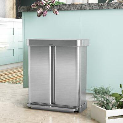 simplehuman 58L Dual Compartment Recycler Women's Silver