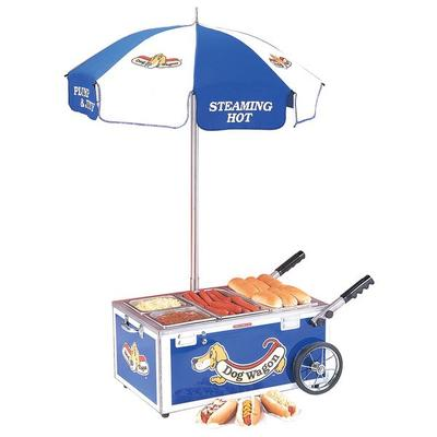 Nemco 6550-DW Blue Mini Hot Dog Cart with (2) 1/4 Pan and...