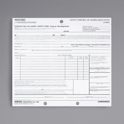 "Rediform Office 6P695 7"" x 8 1/2"" 3-Part Bill of Lading S..."