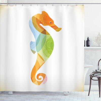 """Ambesonne Animal Silhouette of Sea Creature with Coral Reef Patterns Inside Aquarium Icon Shower Curtain Set sc_20912 Size: 75"""" H x 69"""" W"""