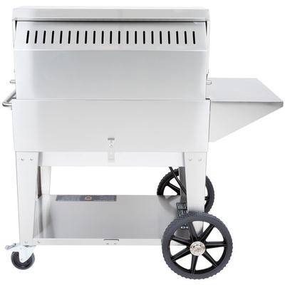 Crown Verity CV-MCB-36PKG-NG 5-PC Grill Package with CV-MCB-36-NG Natural Gas Grill Removable End Shelf BBQ Cover Bun Rack and Roll Dome in Stainless Steel