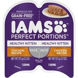 Iams Perfect Portions Healthy Kitten Chicken Recipe Pate Grain-Free Cat Food Trays, 2.6-oz, case of 24 twin-packs | White Wine Red