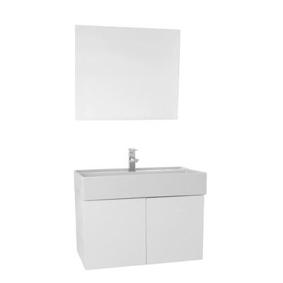 """Scarabeo Iotti SM67 Smile Bathroom Vanity with Ceramic Sink and Mirror Included, 31"""", Glossy White"""