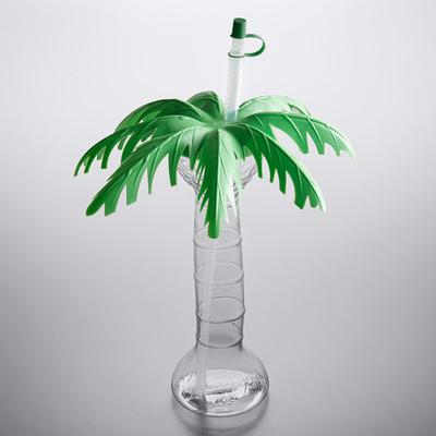 16 oz. Clear Palm Tree Yarder with Lid and Straw - 48/Case
