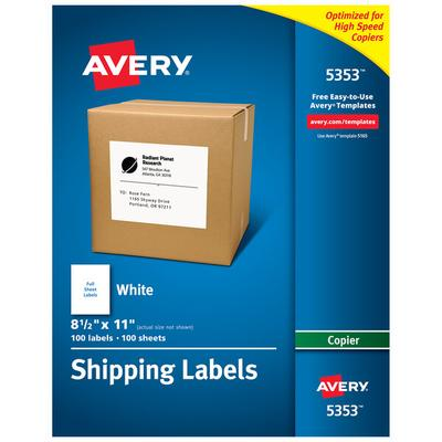 "Avery 5353 8 1/2"" x 11"" White Copier Labels - 100/Box"