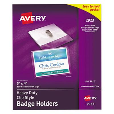 """Avery AVE2923 Landscape Photo ID Badge Holders, 3"""""""" x 4"""""""", Clip & Strap Holder, 100 Per Box, Clear"""