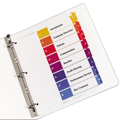 Avery 11186 Ready Index 8-Tab Multi-Color Table of Conten...