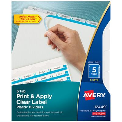 Avery 12449 Index Maker 5-Tab 3-Hole Punched Plastic Clea...
