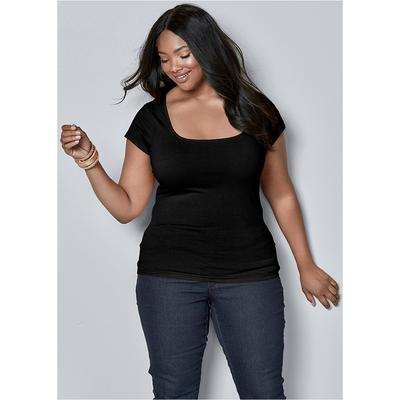 Plus Size Square Neck TOP Tops  Black