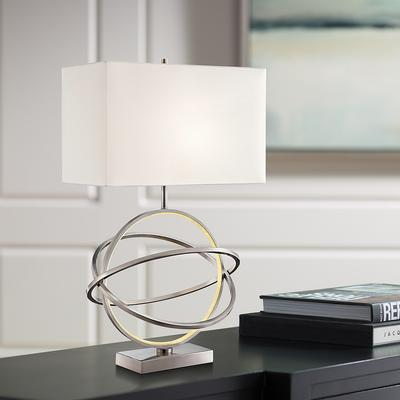 Lite Source Orville Brushed Nickel Table Lamp with LED Ni...