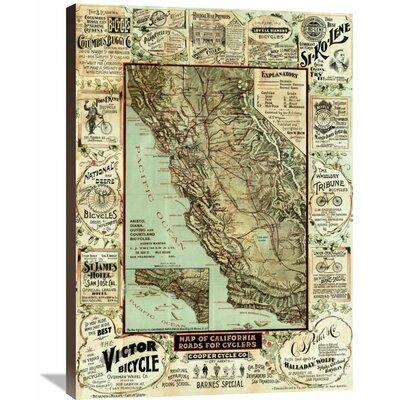 Global Gallery 'Map of California Roads for Cyclers, 1896...