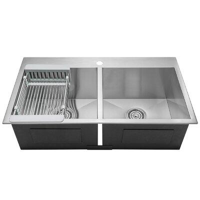 "AKDY 33"" L x 22"" W Double Basin Drop-In Top Mount Sink wi..."
