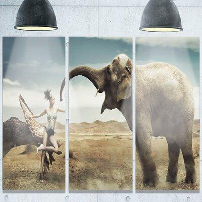 DesignArt 'Sexy Lady with Elephant' 3 Piece Photographic ...